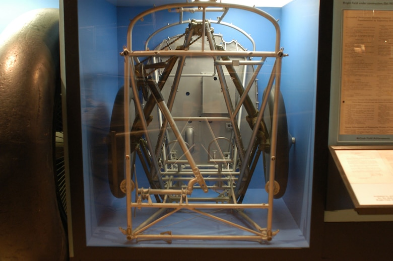 DAYTON, Ohio -- First military retractable landing gear on display in the Early Years Gallery at the National Museum of the United States Air Force. (U.S. Air Force photo)