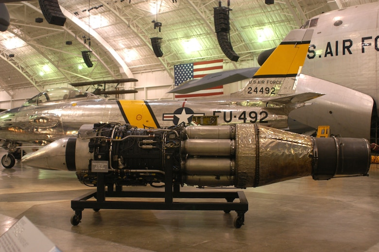 DAYTON, Ohio -- General Electric J-47-27 jet engine at the National Museum of the United States Air Force. (U.S. Air Force photo)
