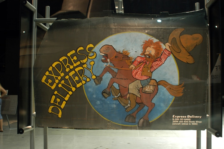 "DAYTON, Ohio -- ""Express Delivery"" nose art from a Boeing B-52G on display in the Cold War Gallery at the National Museum of the United States Air Force. (U.S. Air Force photo)"