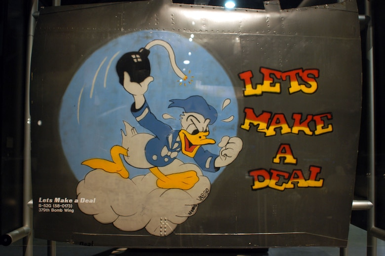 """DAYTON, Ohio -- """"Lets Make a Deal"""" nose art from a Boeing B-52G that flew in Operation Desert Storm is on display in the Cold War Gallery at the National Museum of the United States Air Force. (U.S. Air Force photo)"""