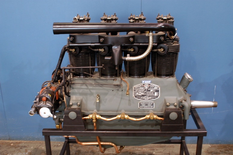 DAYTON, Ohio -- Wright Gipsy L-320 engine on display in the Research & Development Gallery at the National Museum of the United States Air Force. (U.S. Air Force photo)