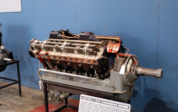 DAYTON, Ohio -- Curtiss V-1570 Conqueror engine on display in the Research & Development Gallery at the National Museum of the United States Air Force. (U.S. Air Force photo)