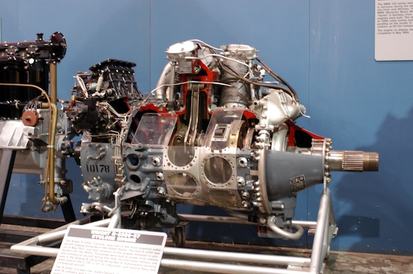 DAYTON, Ohio -- Wright R-3350-57 Cyclone engine on display in the Research & Development Gallery at the National Museum of the United States Air Force. (U.S. Air Force photo)