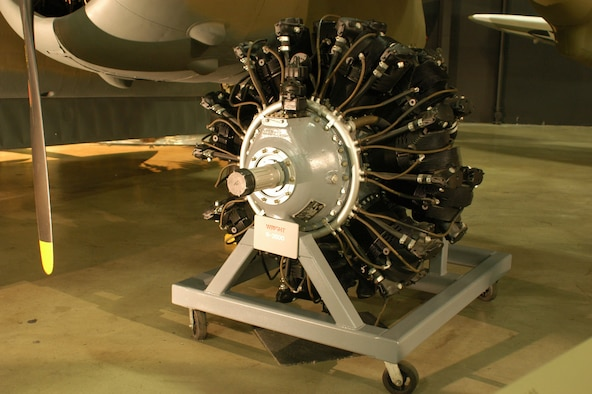 DAYTON, Ohio -- Wright R-2600 on display in the World War II Gallery at the National Museum of the United States Air Force. (U.S. Air Force photo)