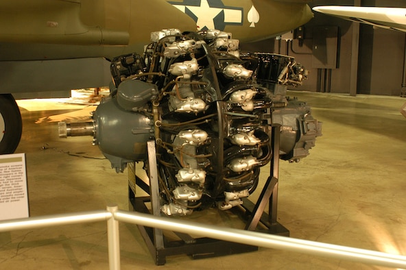DAYTON, Ohio -- Pratt & Whitney R-2800-21 engine on display in the World War II Gallery at the National Museum of the United States Air Force. (U.S. Air Force photo)