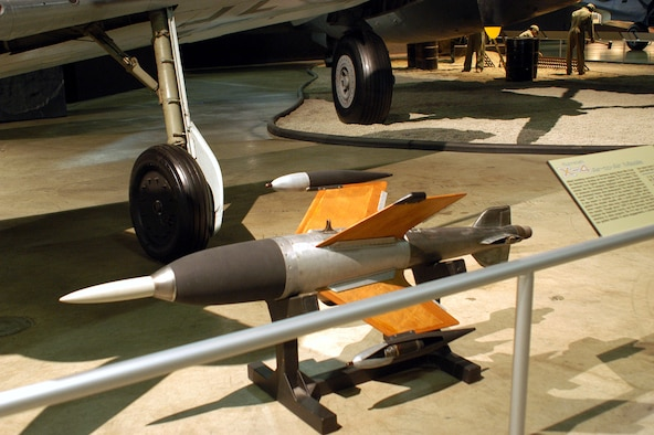 DAYTON, Ohio -- Ruhrstahl X-4 air-to-air missile on display in the World War II Gallery at the National Museum of the United States Air Force. (U.S. Air Force photo)