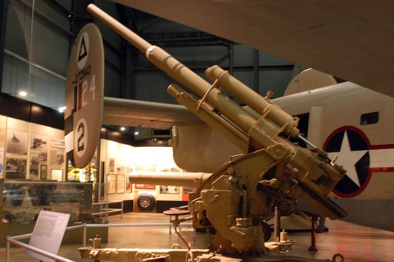 DAYTON, Ohio -- FLAK 36 88mm multipurpose gun on display in the World War II Gallery at the National Museum of the United States Air Force. (U.S. Air Force photo)