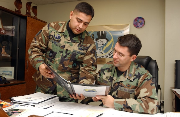 """KUNSAN AIR BASE, South Korea (AFPN) -- Lt. Col. William Ferro, 8th Aircraft Maintenance Squadron commander, right, reviews a technical order with Tech. Sgt. Rodolfo """"Rudy"""" Flores. Sergeant Flores recently received his second masters degree. (U.S. Air Force photo by Senior Airman Joshua DeMotts)"""