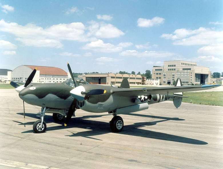 DAYTON, Ohio -- Lockheed P-38L Lightning at the National Museum of the United States Air Force. (U.S. Air Force photo)