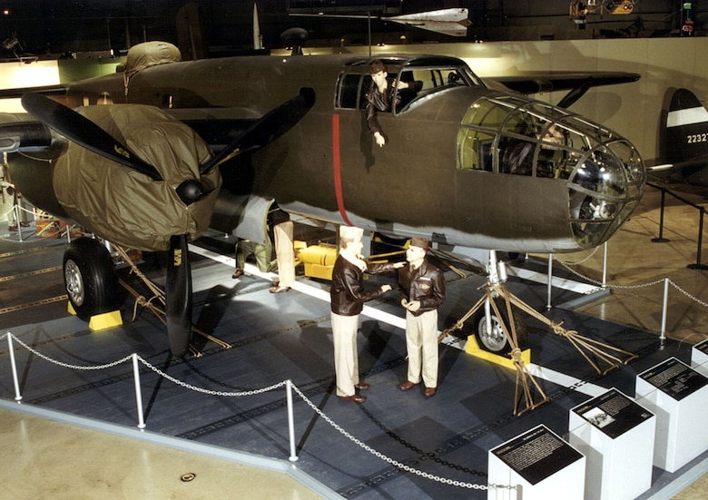 DAYTON, Ohio -- North American B-25B Mitchell and Doolittle Raiders diorama in the World War II Gallery at the National Museum of the United States Air Force. (U.S. Air Force photo)