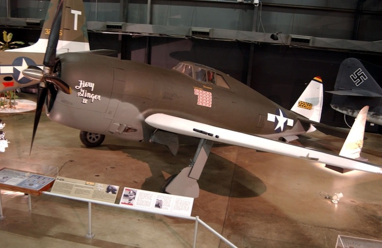 """DAYTON, Ohio -- Republic P-47D """"Fiery Ginger"""" in the World War II Gallery at the National Museum of the United States Air Force. (U.S. Air Force photo)"""