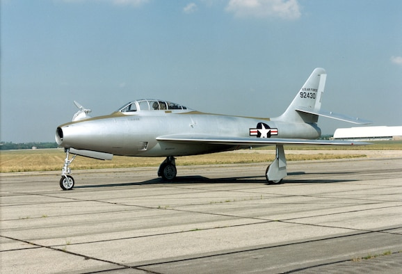 DAYTON, Ohio -- Republic YRF-84F Ficon at the National Museum of the United States Air Force. (U.S. Air Force photo)