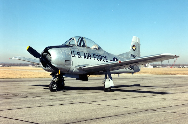 DAYTON, Ohio -- North American T-28A Trojan at the National Museum of the United States Air Force. (U.S. Air Force photo)