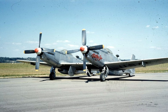 DAYTON, Ohio -- North American F-82B Twin Mustang at the National Museum of the United States Air Force. (U.S. Air Force photo)