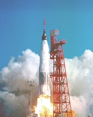 Liftoff of Mercury Atlas 6, John Glenn's orbital flight, from Cape Canaveral, Fla., on Feb. 20, 1962, at 9:47 a.m. Glenn's three orbits covered more than 75,000 miles. (U.S. Air Force photo)