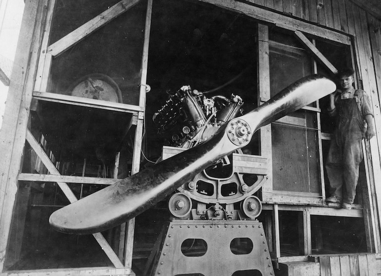 One of the Roma's Ansaldo engines on a test block. (U.S. Air Force photo)
