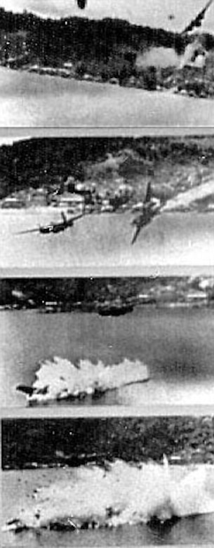 """A Douglas A-20 is struck by antiaircraft fire and crashes during a low-altitude bombing and strafing mission against enemy supply and barge construstion center in Dutch New Guinea. 5th AF A-20 and B-25 """"Commerce Destroyers"""" with extra .50-cal. nose guns proved effective against enemy shipping and ground targets. (U.S. Air Force photo)"""