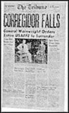 "The Tribune headline reads ""Corregidor Falls."" (U.S. Air Force photo)"