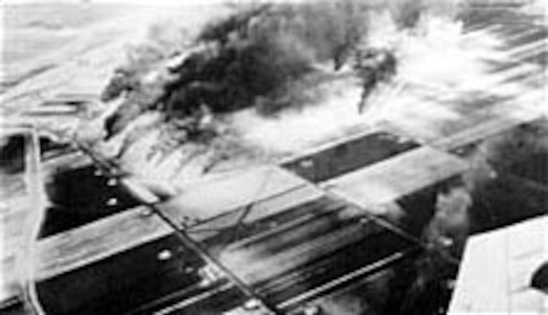 Luftwaffe airfield near Gotha, Germany, on Feb. 9, 1945, after AAF P-51s had destroyed 34 German planes on the ground. (U.S. Air Force photo)