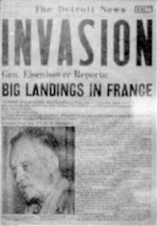 """INVASION"" headline in The Detroit News. (U.S. Air Force photo)"