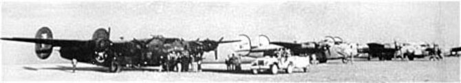B-24s of the 376th Bomb Group on their airfield near Bengasi, Libya, before taking off for Ploesti, Rumania. (U.S. Air Force photo)