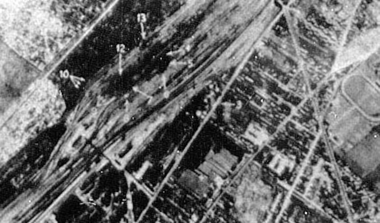 The Sotteville railroad yards at Rouen, France, were attacked in August 1942. (U.S. Air Force photo)