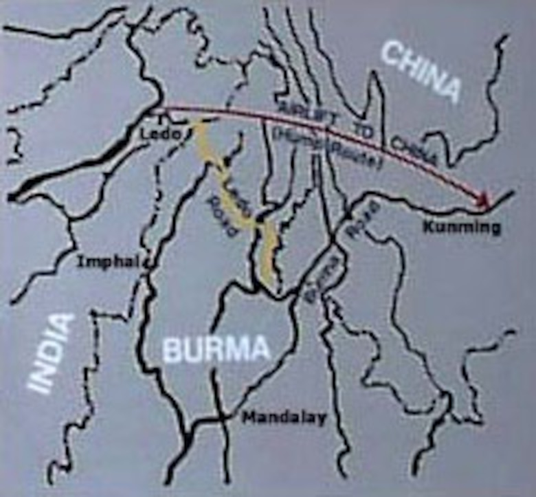 Map of China, Burma and India.