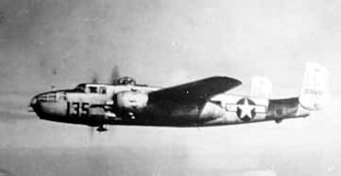 North American B-25J of the 477th Composite Group on a training mission. (U.S. Air Force photo)