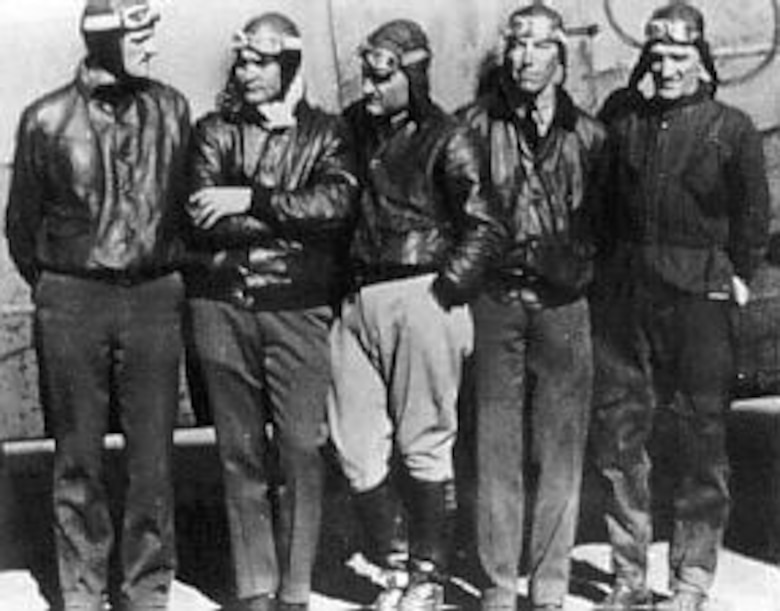 The crew of the Question Mark: Maj. Carl Spaatz, Capt. Ira Eaker, Lt. H.A. Halverson, Lt. E.R. Quesada and Sgt. R.W. Hooe. (U.S. Air Force photo)