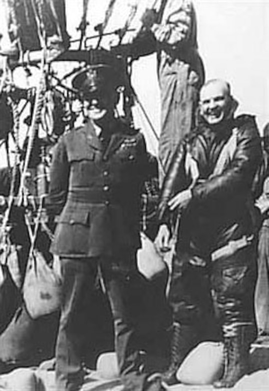 Capt. H.C. Gray (in flight suit) prior to his ascent on March 9, 1927. (U.S. Air Force photo)