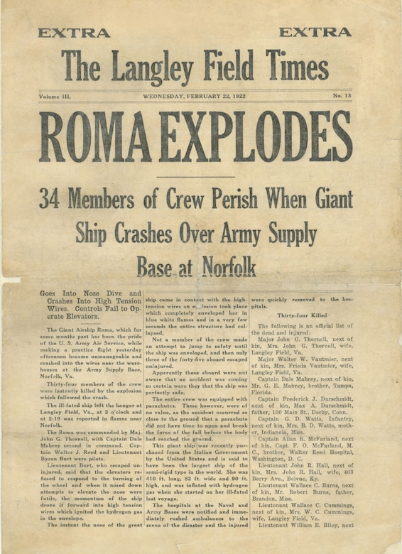 This page from The Langley Field Times has news about the Roma disaster. (U.S. Air Force photo)