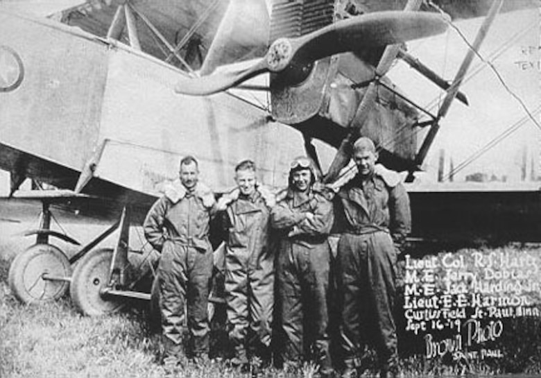 The four flyers of the Round-the-Rim Flight: Lt. Col. R.S. Hartz, Sgt. Jerry Dobias, Sgt. Jack Harding and Lt. Ernest E. Harmon. (U.S. Air Force photo)