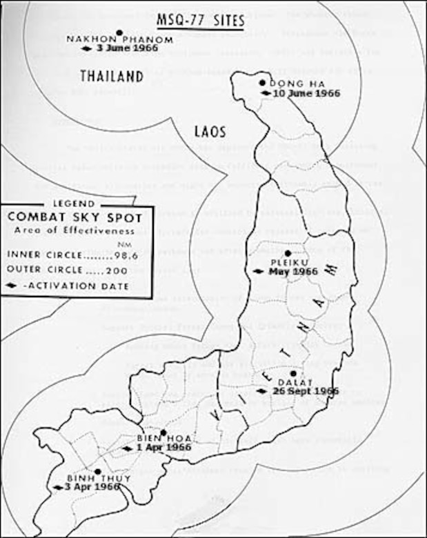 With a maximum range of about 230 miles, COMBAT SKY SPOT radars covered most areas of interest, with the notable exception of northern North Vietnam.  The installation of a modified COMBAT SKY SPOT site on LS 85 in 1967 covered this gap. (U.S. Air Force photo)
