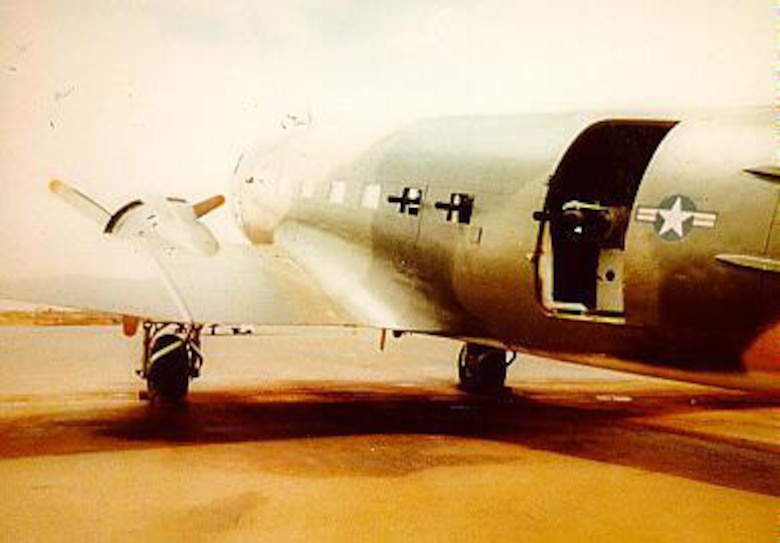 An AC-47 at Nha Trang Air Base displays the three Gatling type machine guns that make up its armament. The AC-47s were the first gunships and were called a variety of nicknames -- Puff, Spooky and Dragon ship were among the most popular. (U.S. Air Force photo)