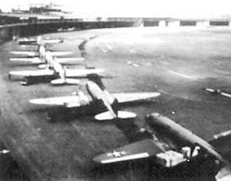 C-47s unloading at Tempelhof, formed the nucleus of the airlift until September when the larger and faster four-engine C-54s capable of hauling 10 tons had been put into service. (U.S. Air Force photo)
