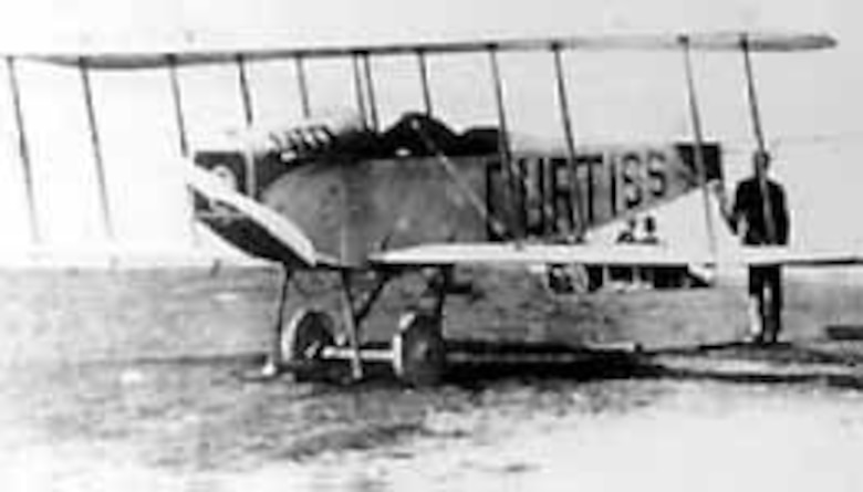 "Signal Corps No. 29. The first Curtiss ""J"" Tractor, which was delivered to the Signal Corps in June 1914. (U.S. Air Force photo)"