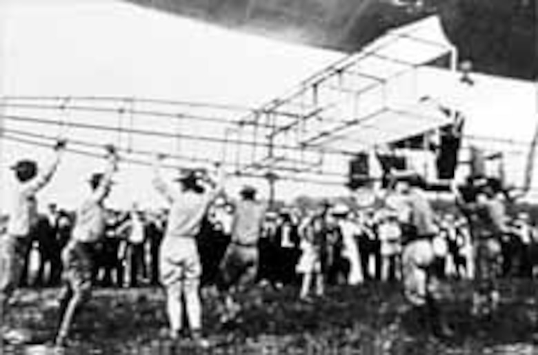 Dirigible No. 1 being launched. (U.S. Air Force photo)