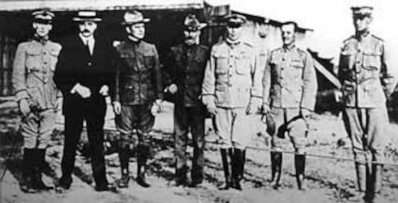 The Aeronautical Board, which conducted the official tests of the 1909 Flyer. From left to right are Lt. Frank Lahm, Lt. George Sweet, Maj. Charles Saltzman, Maj. George Squier, Capt. Charles Chandler, Lt. Benjamin Foulois and Lt. Frederick Humphreys. (U.S. Air Force photo)