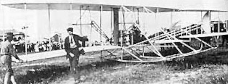 Orville Wright prepares to take-off in the 1908 Flyer with Maj. George O. Squier as passenger, Sept. 12, 1908. (U.S. Air Force photo)