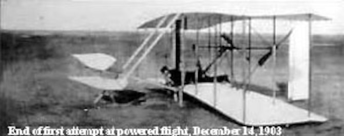 End of first attempt at powered flight, Dec. 14, 1903. (U.S. Air Force photo)