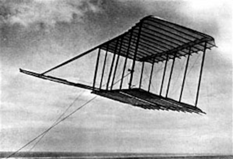 Glider built by the Wright brothers in September 1900. (U.S. Air Force photo)