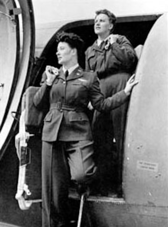 WASP C-47 flight crew: Pilot Joanna Trebtoske (Jenks), left, and Copilot Marjorie Logan (Rolle) at Romulus Army Air Field, Mich. (U.S. Air Force photo)