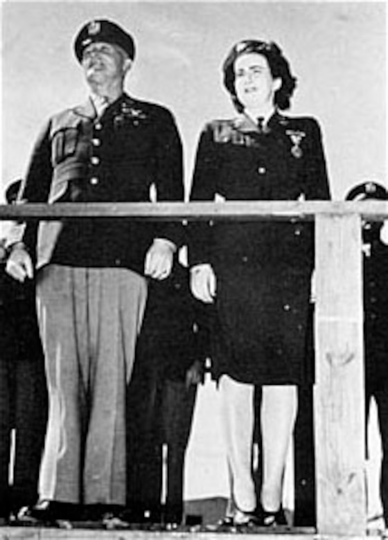 Gen. Hap Arnold and Barbara Erickson at Avenger Field, Texas, after she was awarded the Air Medal. (U.S. Air Force photo)
