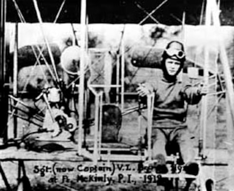 "The first USAF enlisted pilot, Sgt. (later Col.) Vernon L. Burge, seated in an Army ""B"" airplane in the Philippines in 1912. Like many enlisted pilots who followed, he was an aircraft mechanic prior to earning wings. (U.S. Air Force photo)"