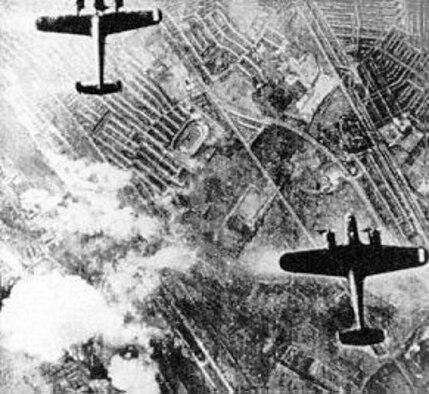 German Dornier DO-17s on a bomb run over London. (U.S. Air Force photo)