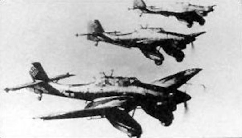The dreaded Ju 87 Stuka dive bomber was used effectively by the German Luftwaffe  in Poland in 1939 and western Europe in 1940. (U.S. Air Force photo)