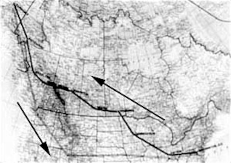 Route of the B-10s to Alaska and return.