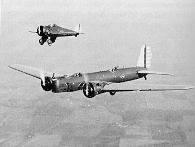 Boeing B-9 and Boeing P-26. U.S. Air Force photograph.