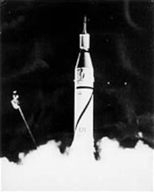 The launch of the first U.S. satellite, Explorer I, atop a U.S. Army Jupiter C Rocket on Jan. 31, 1958. (U.S. Air Force photo)