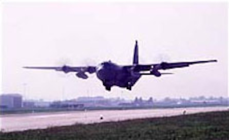 A C-130 of the 37th Airlift Squadron, Ramstein Air Base, Germany, departs Ancona, Italy, for Sarajevo. (U.S. Air Force photo)